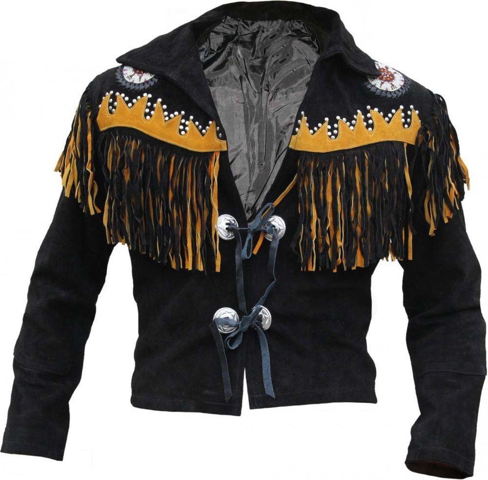 Men Black Suede Leather Western Cowboy Jacket With Fringe Mens Fringe Jackets Cowboy Jacket High Quality Leather Jacket Suede Fringe Jacket [ 983 x 1000 Pixel ]