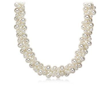 Blue Nile Freshwater Cultured Pearl Cluster Necklace with 14k White Gold (3-5mm) VuchPiOGGw