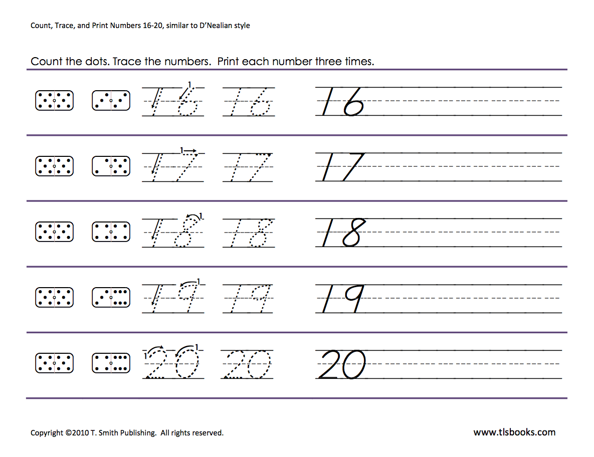 Workbooks trace numbers worksheets : Numbers tracing: 16-20 | Homeschooling: Number Tracing | Pinterest ...
