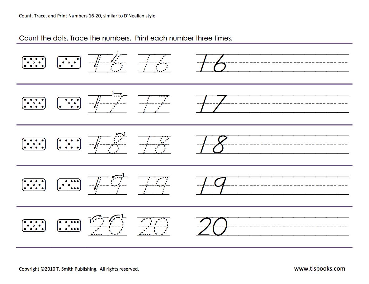 Numbers Tracing 16 20 Preschool Worksheets Kindergarten Worksheets Math Worksheets