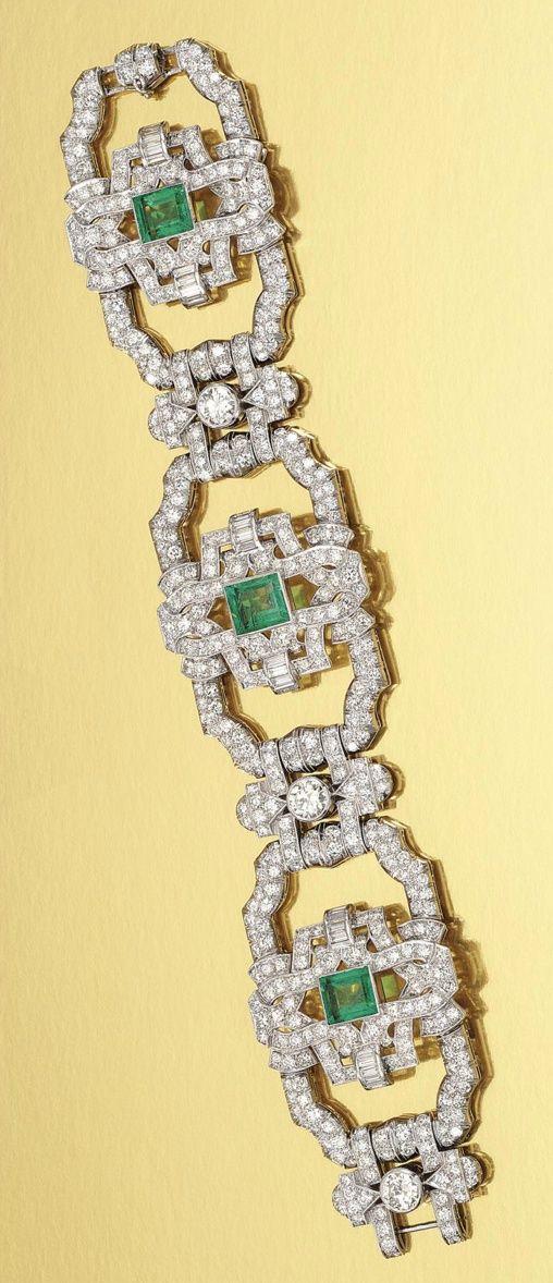 Emerald and diamond bracelet.