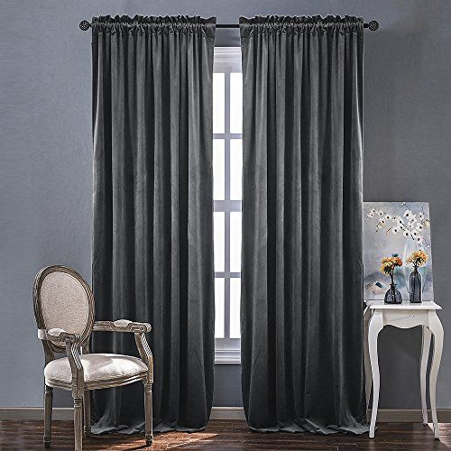 Nicetown Heavy Matt Solid Velvet Curtains For Holiday Home Decor Blackout And Sound Reducing 2 Panel Pack 8