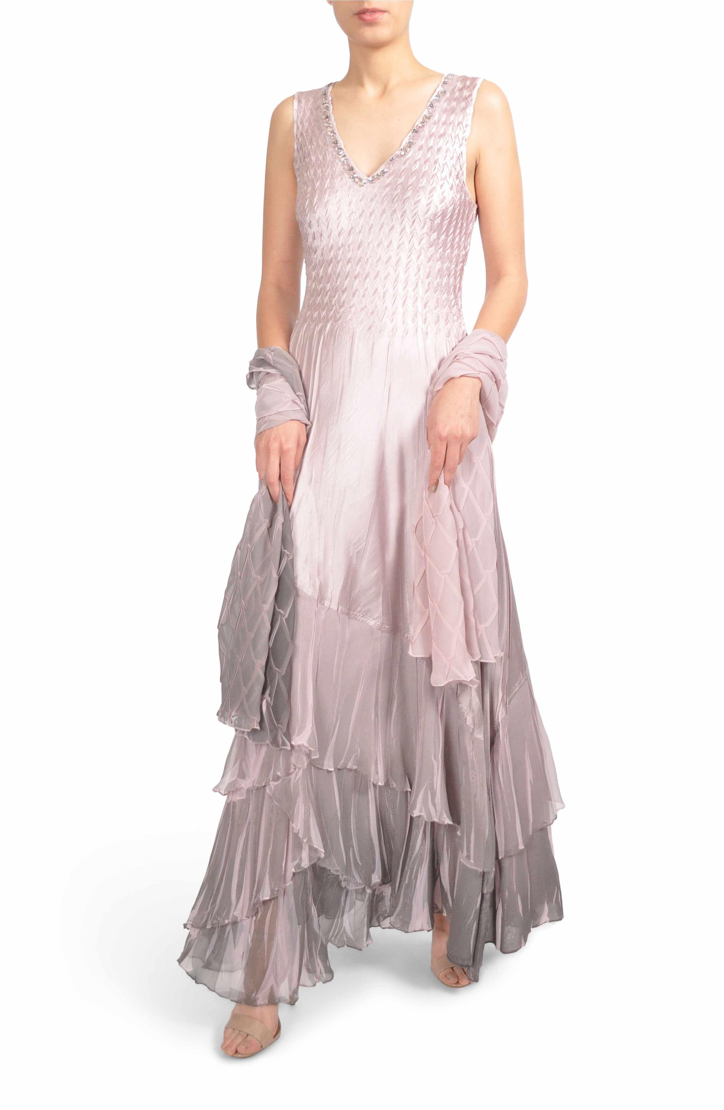 30bcec749d Main Image - Komarov Beaded Charmeuse   Chiffon Gown with Wrap (Regular    Petite)