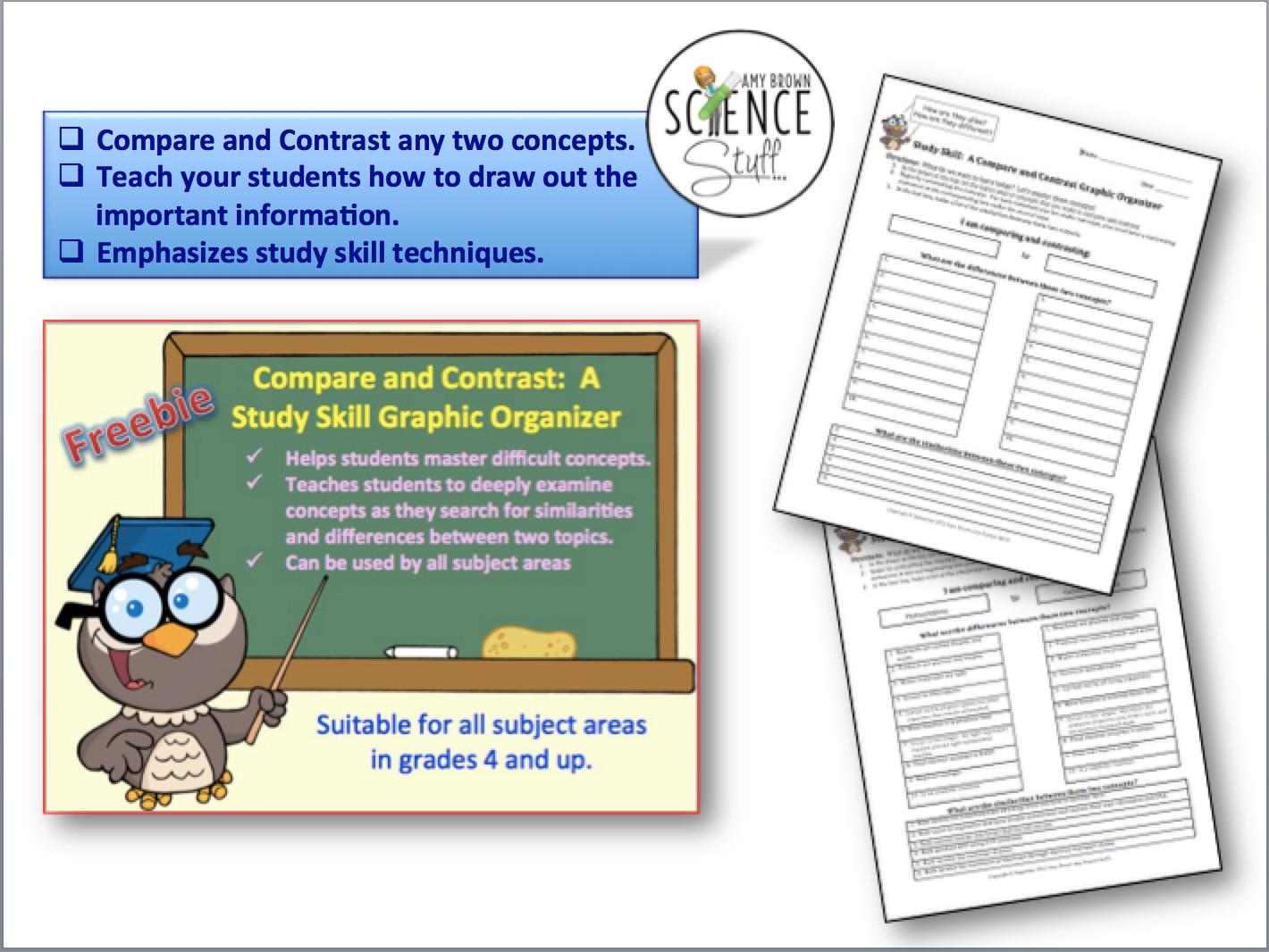 Free Study Skill Graphic Organizer Compare And Contrast
