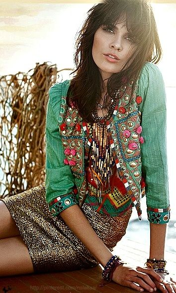 Ethnic tribal inspired jacket with gypsy embellishments for a modern hippie look. FOLLOW http://www.pinterest.com/happygolicky/the-best-boho-chic-fashion-bohemian-jewelry-gypsy-/ for the BEST Bohemian fashion trends for 2014 in jewelry & clothing.