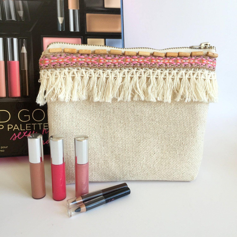 Boho Cosmetic Bag,Fringe Make up bag,Linen Zippered Pouch