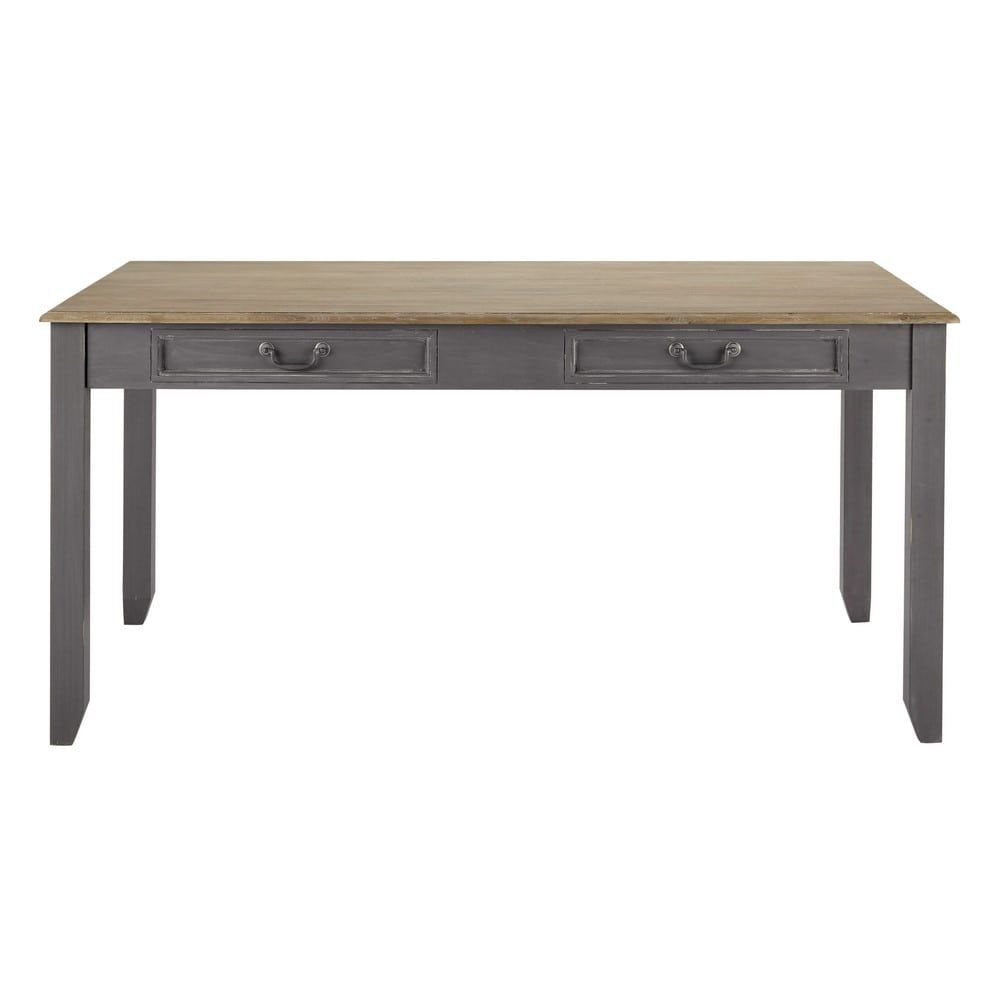 Wooden Extending Dining Table In Grey W 160cm Honorine Maisons Du Monde With Images Wooden Dining Tables Extendable Dining Table Dining Table