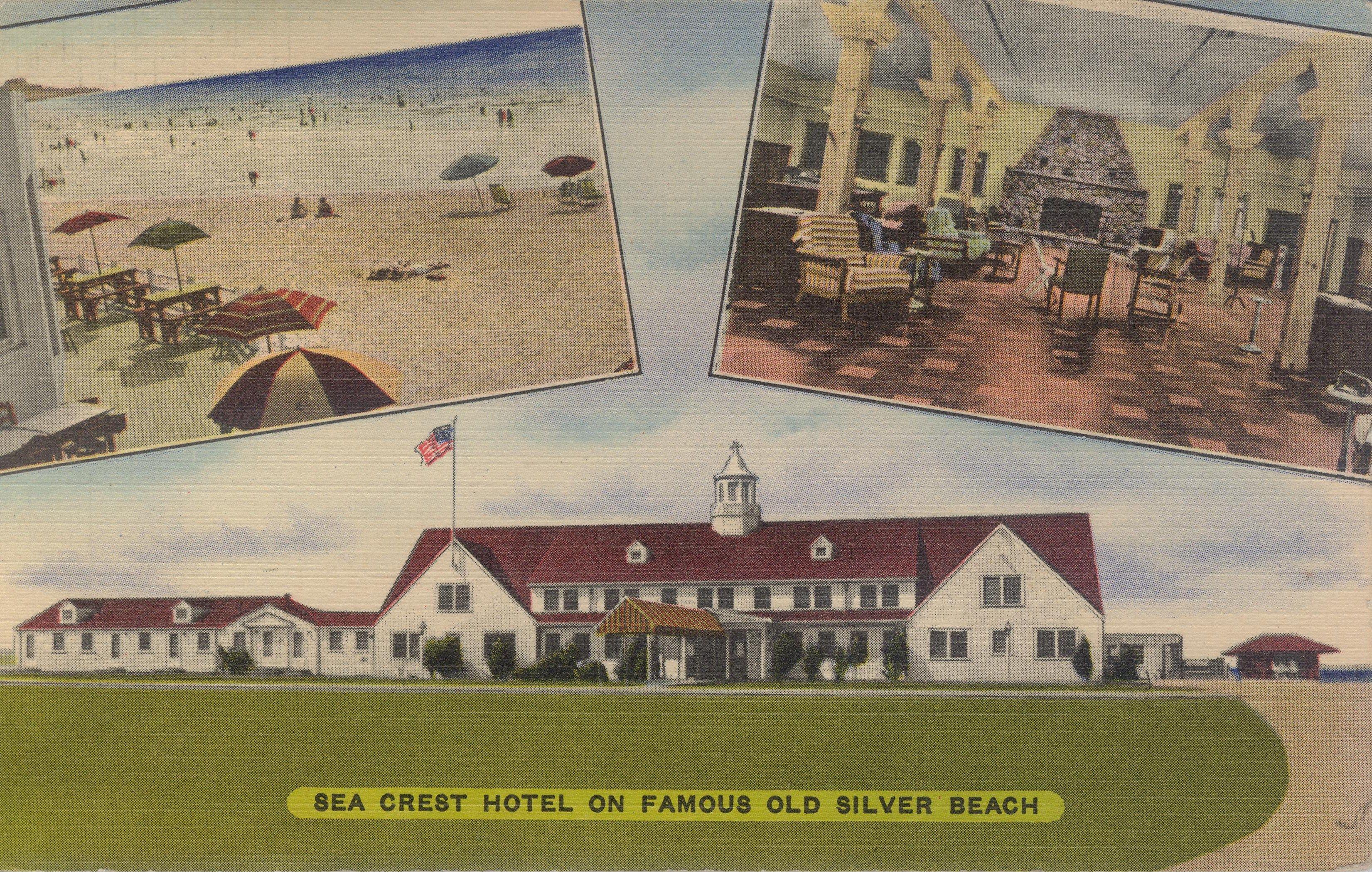 Old School 3 Part Postcard 1951 Beach Crest Falmouth
