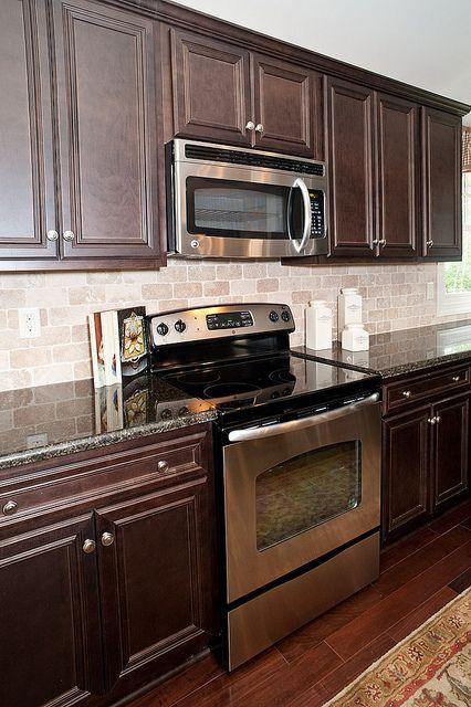 Stainless Appliances Backsplash With Dark Cabinets Kitchen