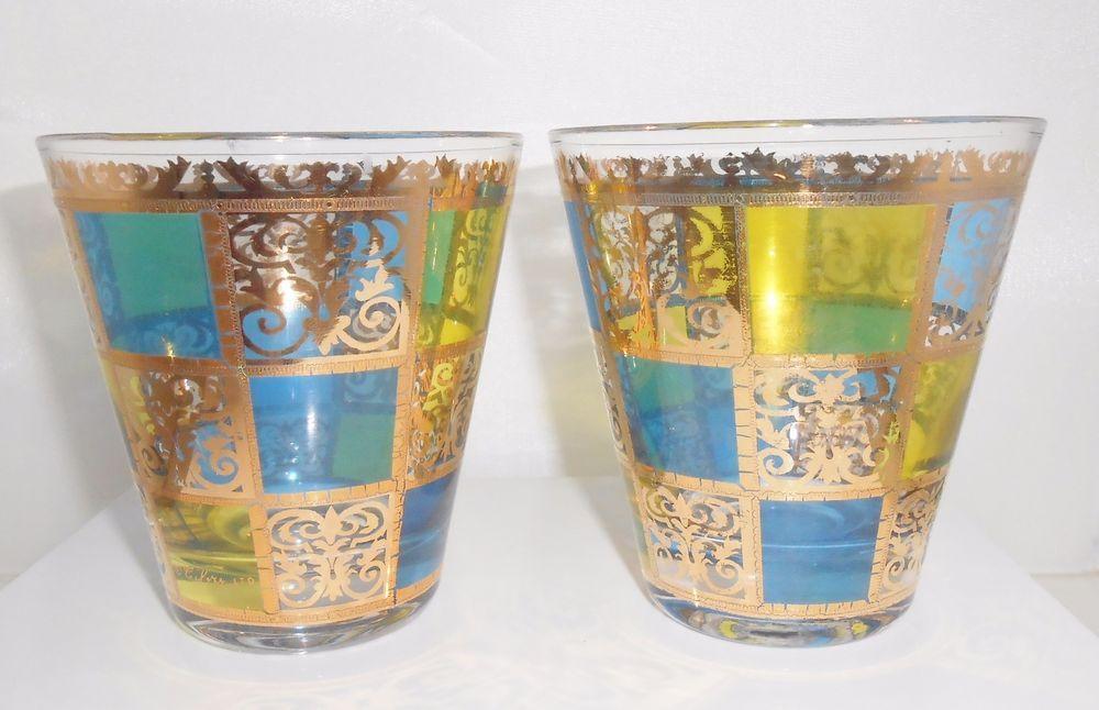 Culver prado bar glasses mcm mid century double old