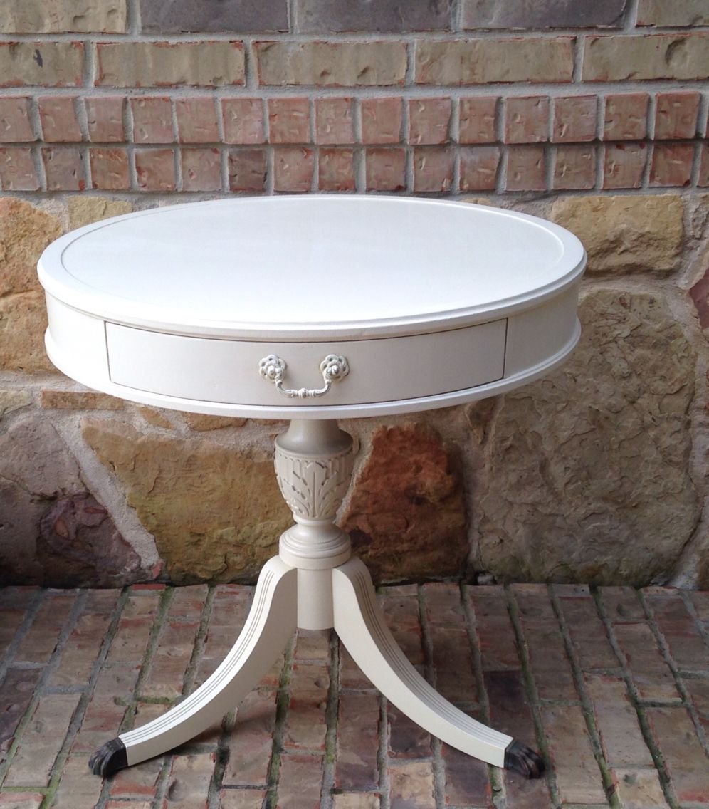 Antique drum table with brass claw feet painted vintage and antique drum table with brass claw feet geotapseo Choice Image