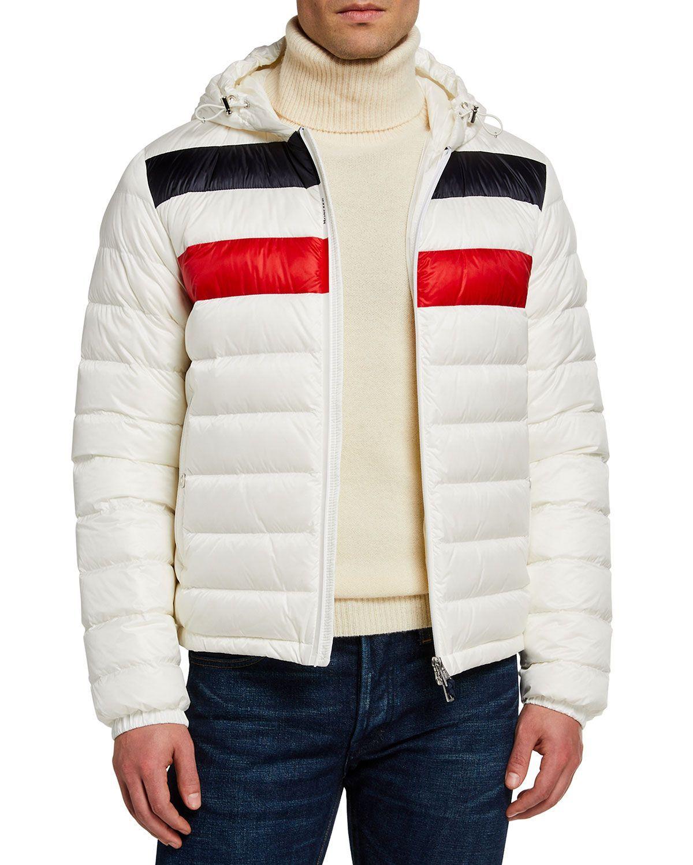 Moncler Men S Kourou Logo Stripe Puffer Jacket Neiman Marcus Mens Puffer Jacket Puffer Jackets Jackets [ 1500 x 1200 Pixel ]