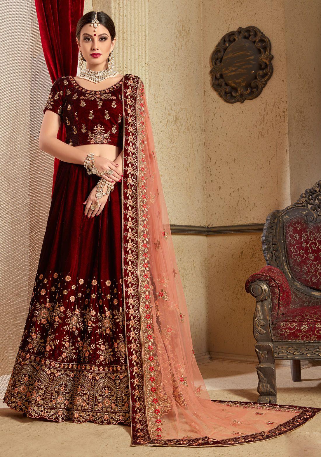 0017e85f490 Maroon velvet punjabi bridal lehenga choli