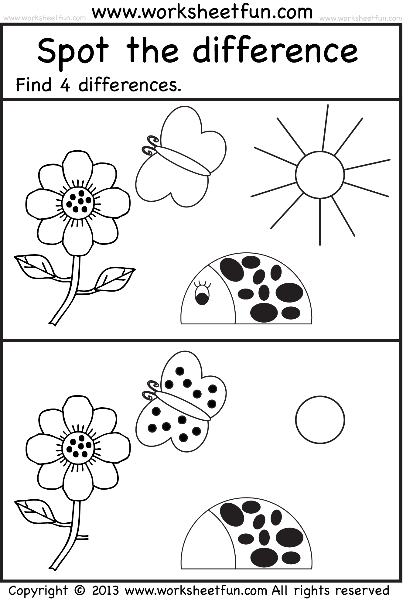 spot the difference Worksheets for kids, Preschool
