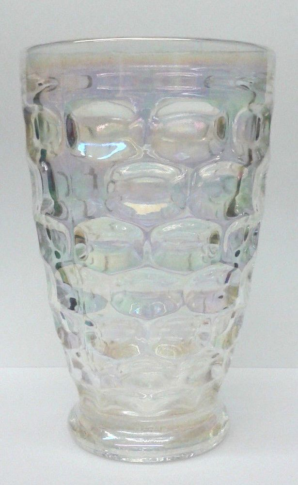 Vintage Federal Glass Yorktown Iridescent Clear Thumbprint