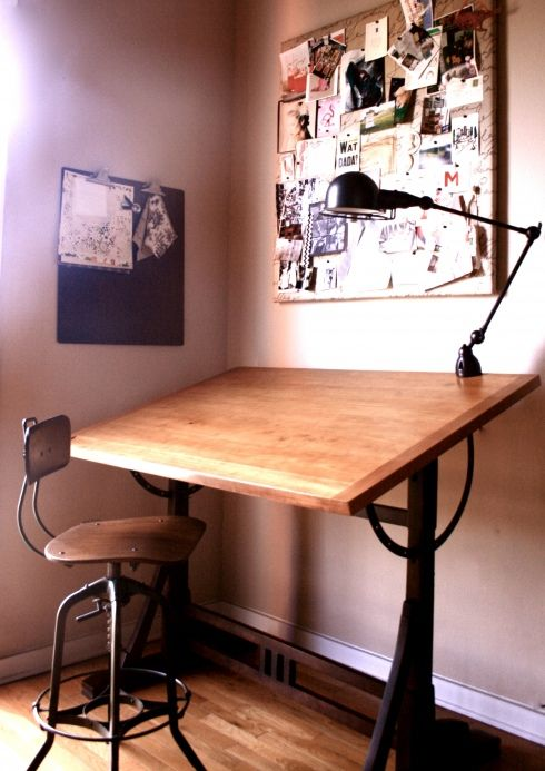Sand Stain Paint Dad S Old Drafting Table To Look Like This Clean And Simple Home Studio Furniture Home Decor