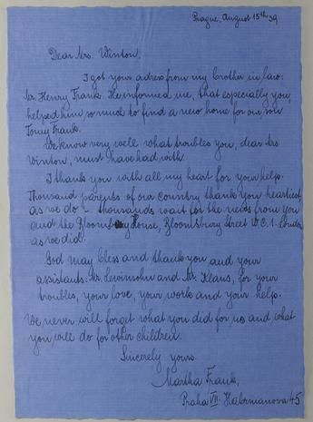 "Sir Nicholas Winton.  ""Thank you Mrs. Winton"" In this letter, a woman by the name of Martha Frank writes from Prague thanking Mrs. Winton for placing her son Tomy Frank.  Credit: Yad Vashem Archives"
