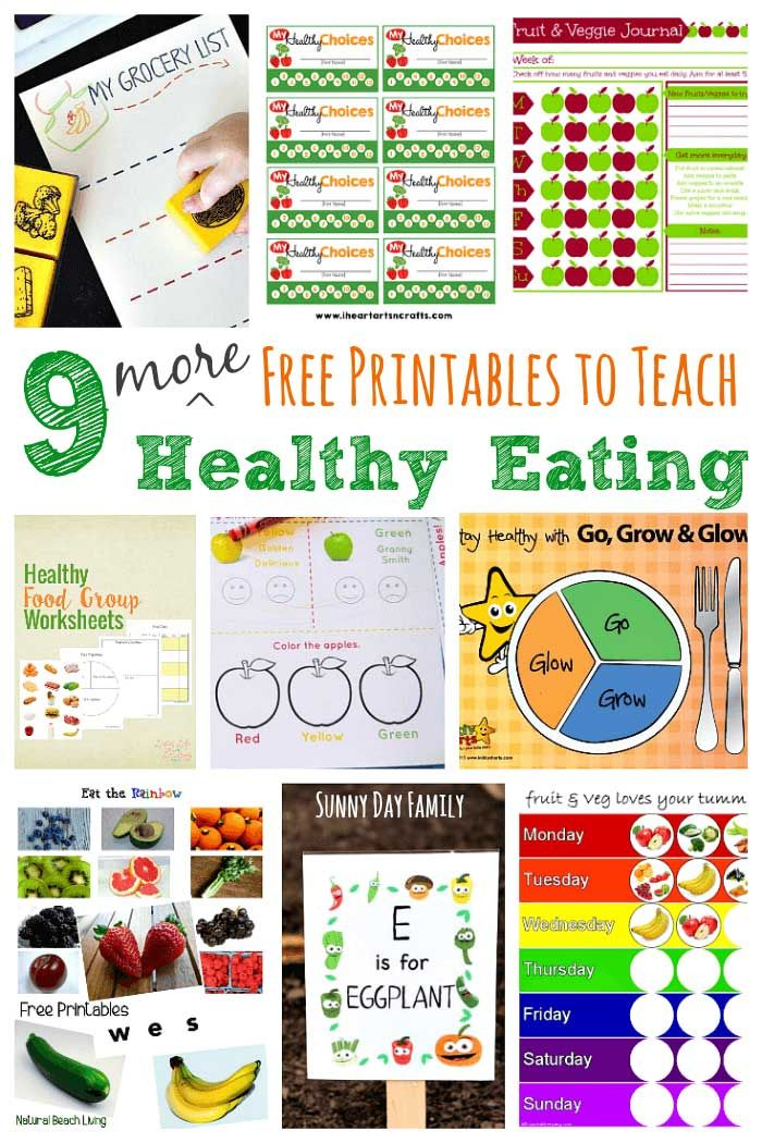 9 More Free Printables To Teach Healthy Eating School Nutrition Kids Nutrition Healthy Food Activities