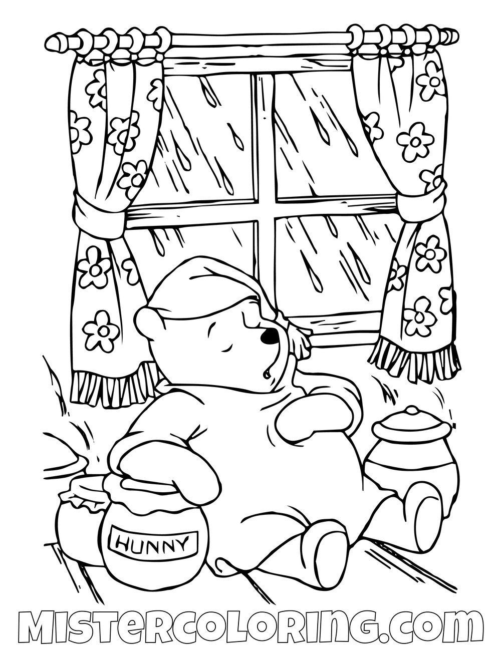 Winnie The Pooh Sleeping Inside Coloring Page Coloring Pages Coloring Pages For Kids Winnie The Pooh
