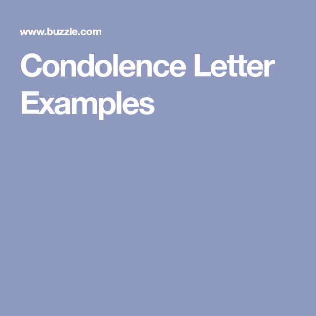 Condolence Letter Examples  Condolence Letter And Letter Example