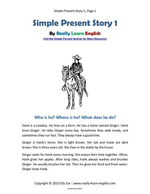 7 Simple Present Story Ideas English Reading Learn English Words Reading Comprehension Lessons