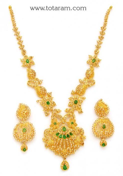 22K Gold Necklace Drop Earrings Set with Uncut Diamonds Totaram