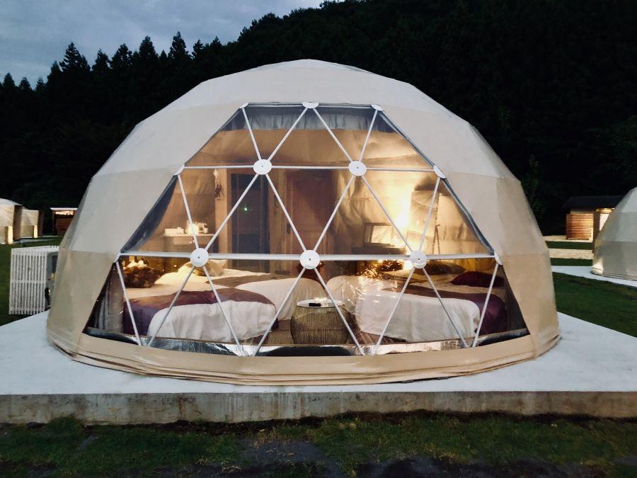 妙義山グリーンホテル テラスグランピング ドームハウス バブルテント ドーム型の家
