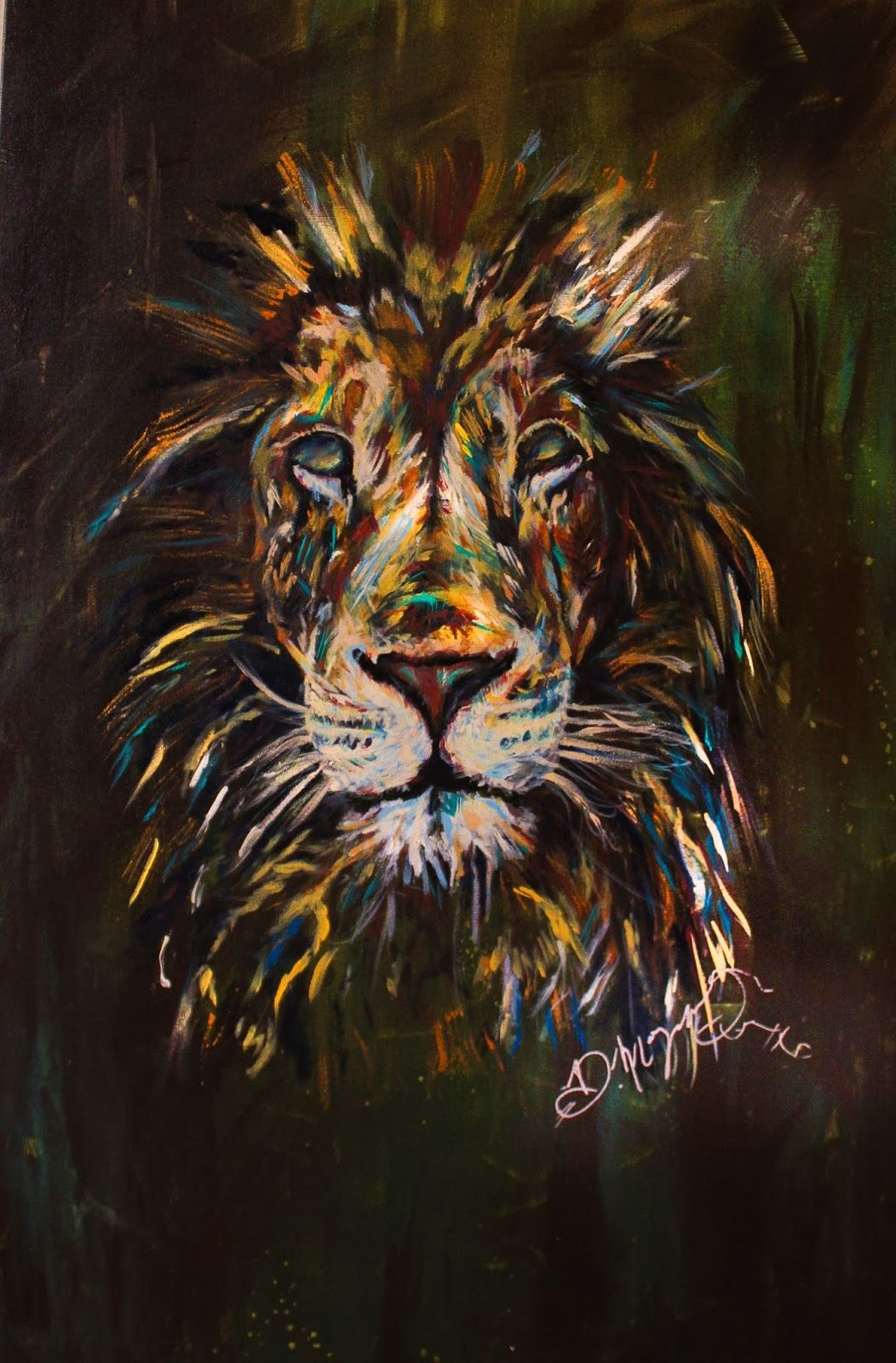 Dona Morgan Soul Of A Lion 16x24 Canvas Acrylic Paint In