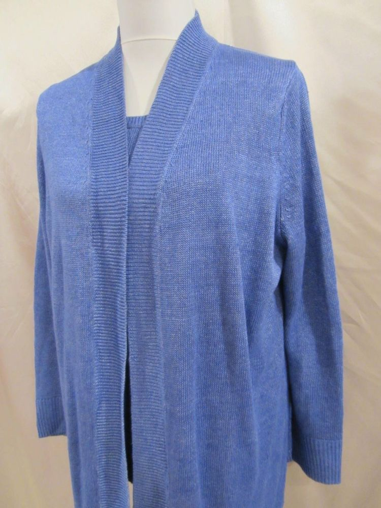 Talbots Woman sz 1X Plus Sweater Tank Cardigan Set Blue Linen Woven Career Mod #Talbots #Twinset