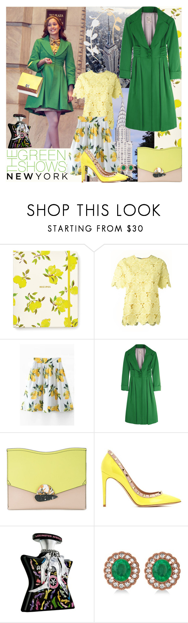 """""""The Green Shows:  New York"""" by bklou ❤ liked on Polyvore featuring Kate Spade, Rochas, Nanette Lepore, Proenza Schouler, Valentino, Bond No. 9, Allurez and Marni"""