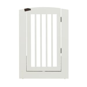 Camaflexi Ruffluv 36 In H Wood Freestanding Single Panel White Pet Gate With Door 193603 In 2020 With Images