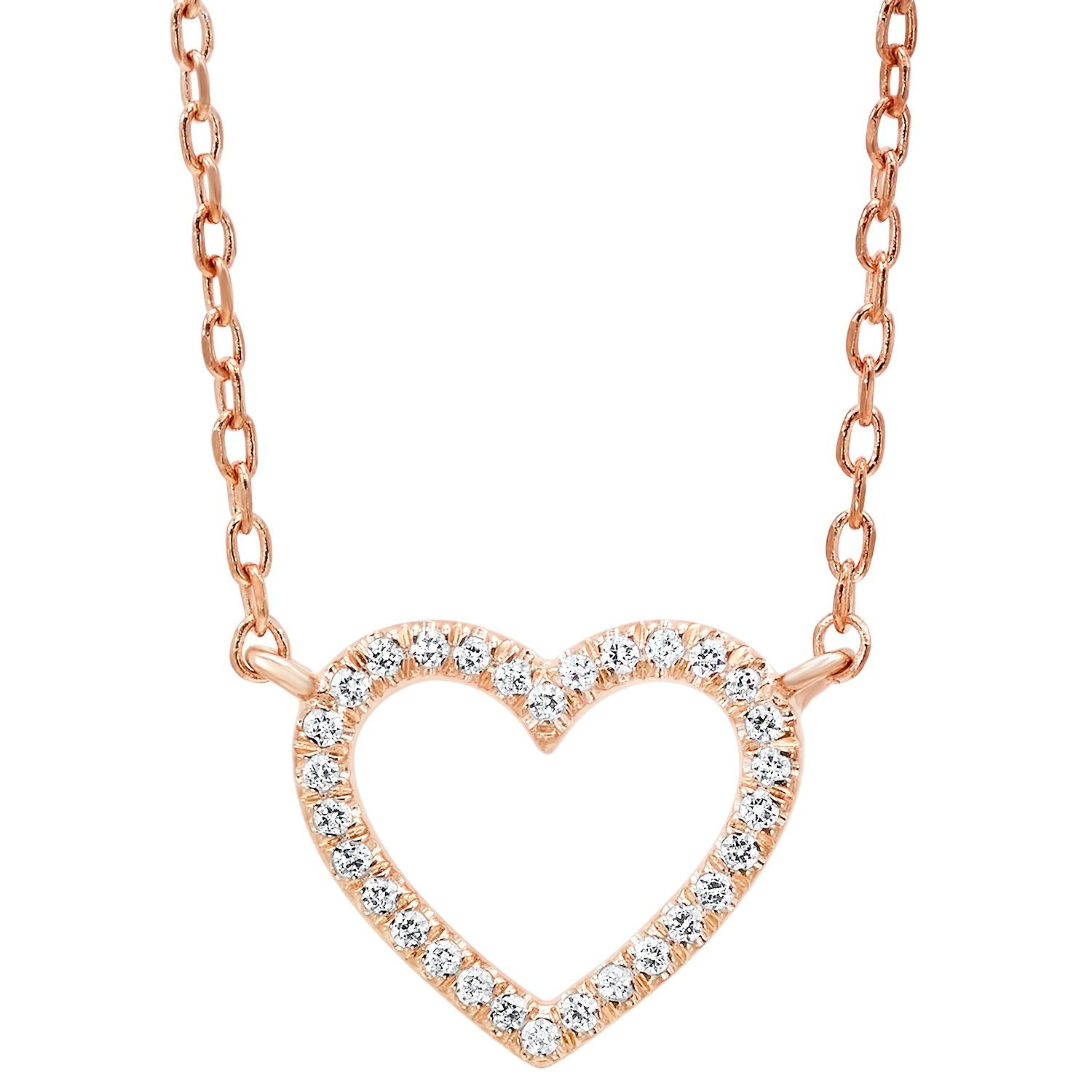 33c68cd984ef9 14K Rose Gold Dainty Heart Shaped Pave Diamond Necklace | Products ...