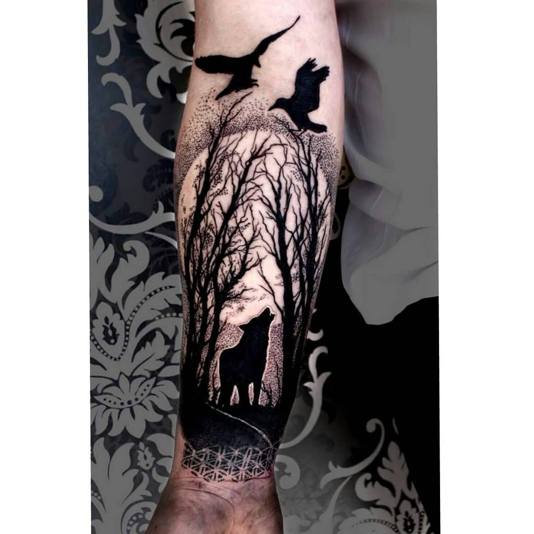 Wolf Forest Tattoo Tatuirovka Indeec Muzhskie Tatuirovki Na Pleche Tatuirovka Spiny