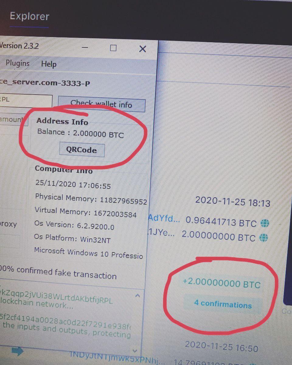 Fake BTC transaction generator