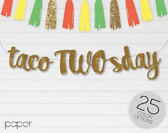 Second Birthday Banner Taco Twos Day Banner Taco Party Taco Birthday Banner