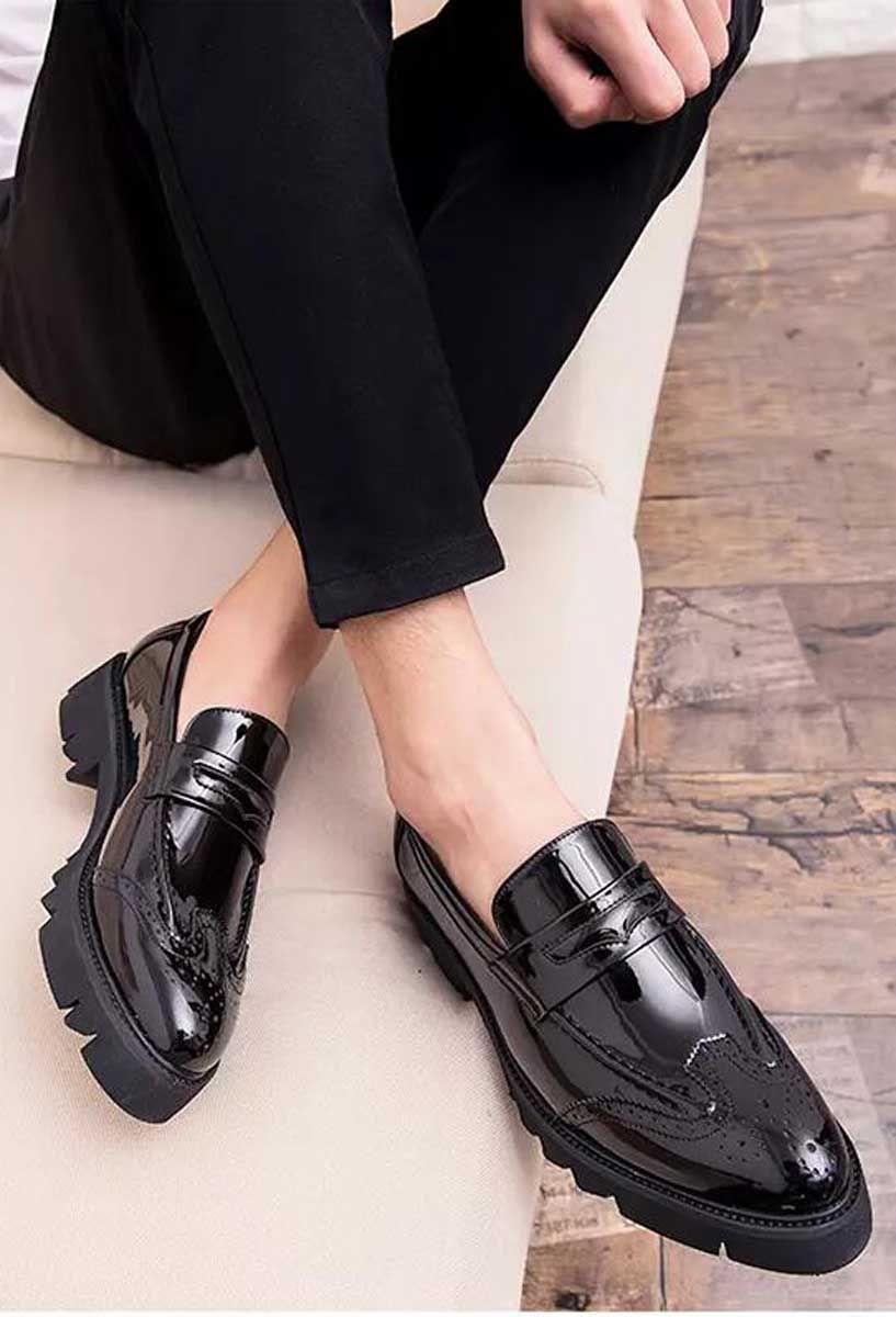 Black Penny Strap Brogue Leather Slip On Dress Shoe Slip On Dress Shoe Dress Shoes Men Dress Shoes [ 1200 x 817 Pixel ]