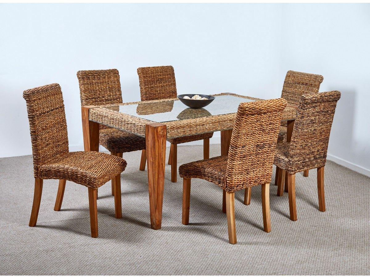 Milan Abaca Rattan Large Dining Table and 6 Chairs   Large ...