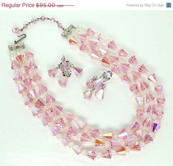 Pink Crystal Trumphet Bead Necklace & Earrings Set -  Beautiful Vintage Sparkles #etsy  #gifts