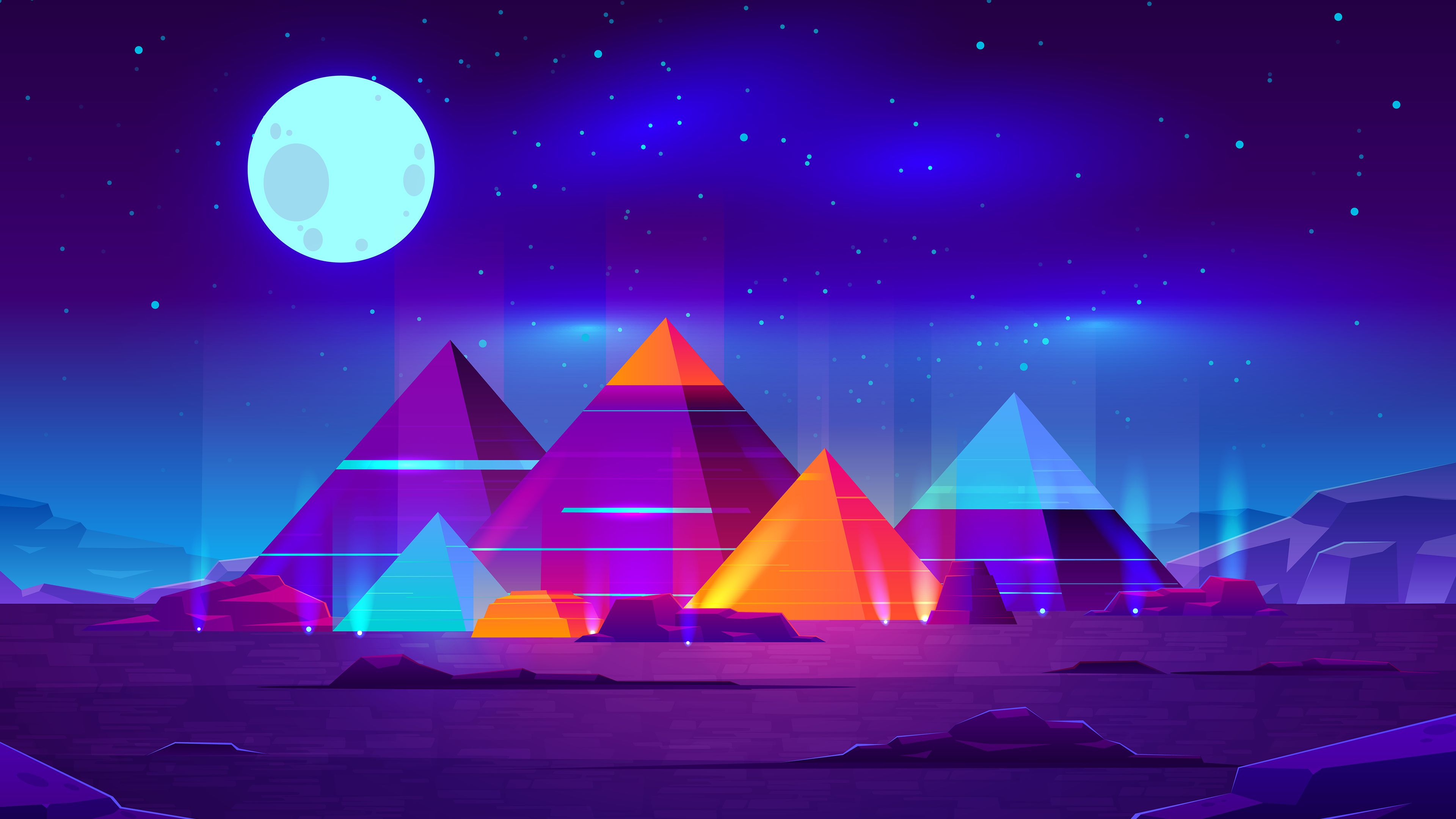 Pyramids Minimalist 4k Pyramids Wallpapers Minimalist Wallpapers Minimalism Wallpapers Hd Wallpapers Digital Minimalist Wallpaper Night Landscape Pyramids