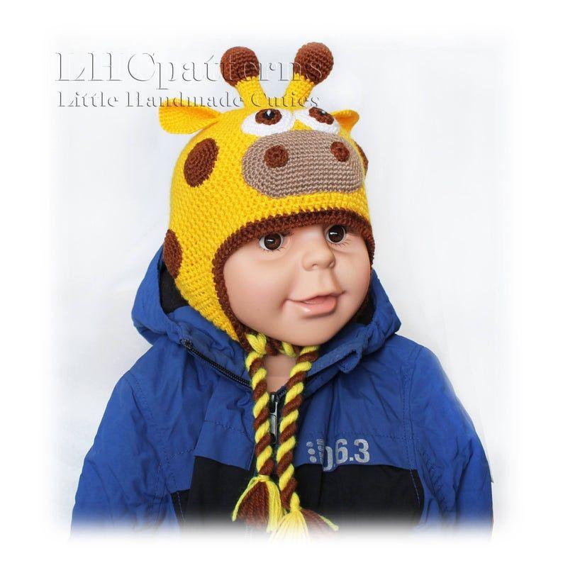 Hat Crochet Pattern, Crochet Earflap Hat Giraffe Pattern, Baby Hat Crochet Pattern, Boy / Girl Hat Crochet Pattern, Gifaffe Hat, All Sizes