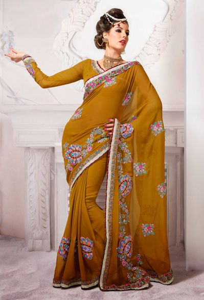 USD 101.54 Yellow Georgette Embroidery Party Wear Saree 29574