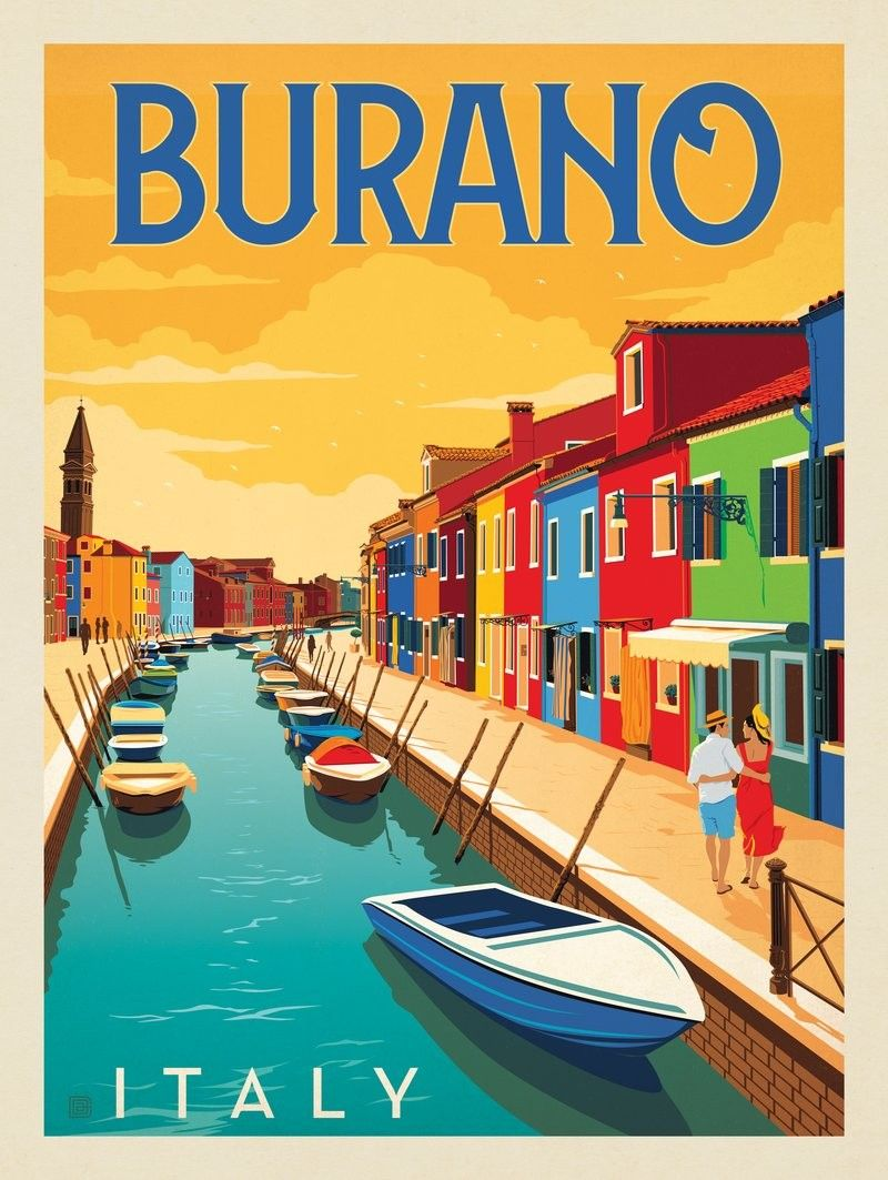 Anderson Design Group   World Travel   Italy Burano is part of Retro travel poster -