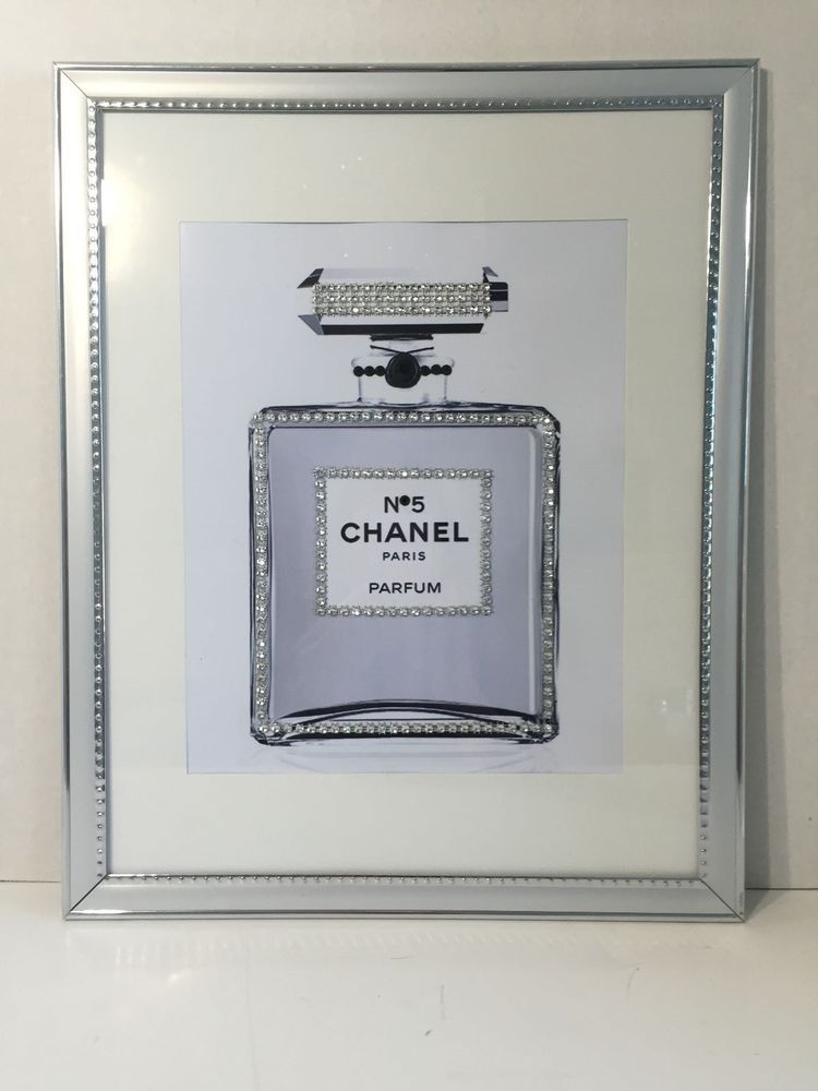 14X11 FRAMED CHANEL no 5 PERFUME BLING ART PRINT IN SILVER PICTURE ...