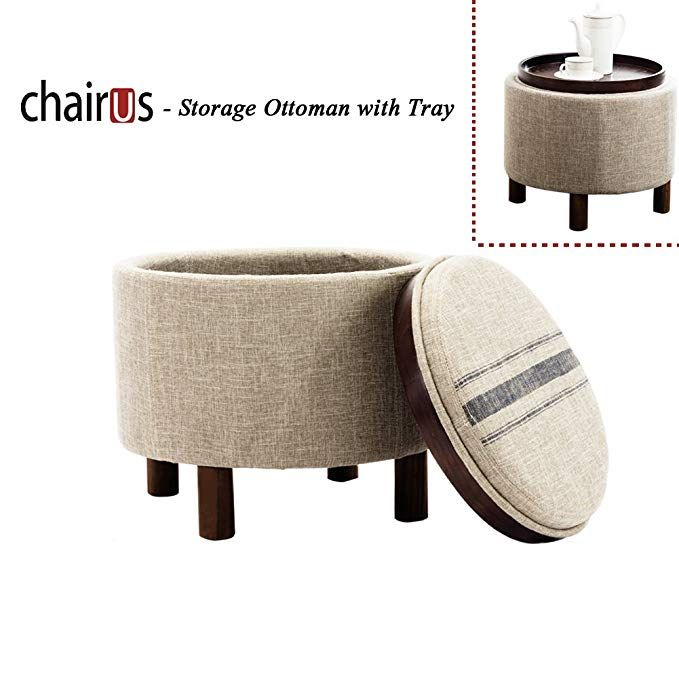 Surprising Chairus Round Storage Ottoman With Tray Fabric Upholstered Ibusinesslaw Wood Chair Design Ideas Ibusinesslaworg