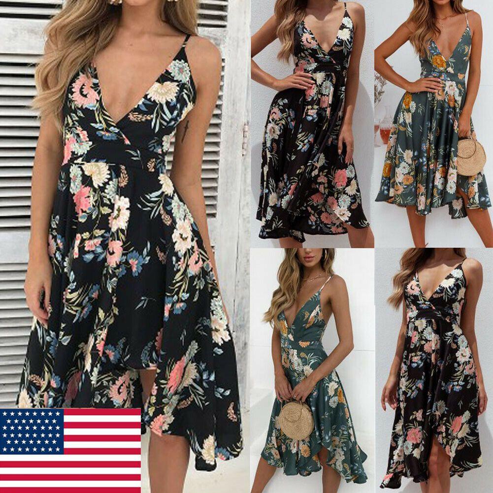 Womens Boho Floral Long Maxi Dress Summer Beach Evening Party Cocktail Sundress