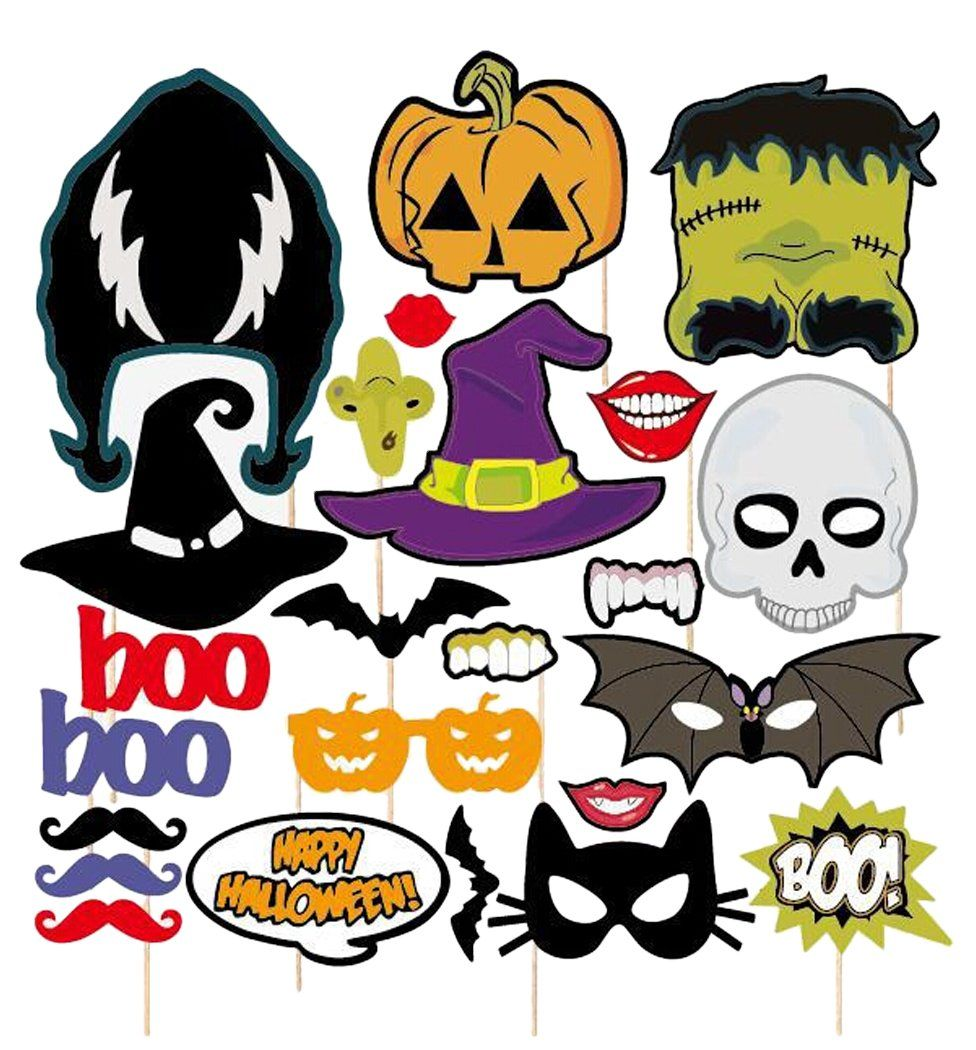Coxeer 24Pcs Photo Booth Props on a Stick Halloween Funny Photo ...