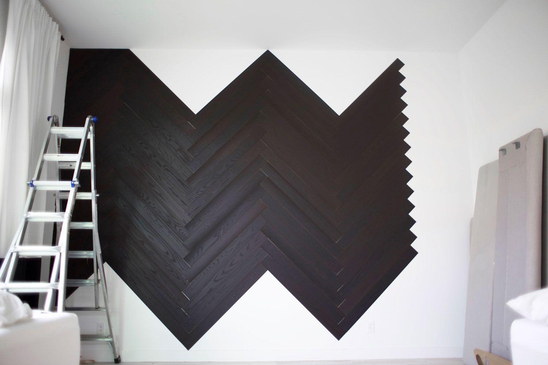 Master Bedroom Reveal Diy Herringbone Wall With Stikwood Kristi Murphy Diy Blog Herringbone Wall Black Walls Bedroom Bedroom Tv Wall