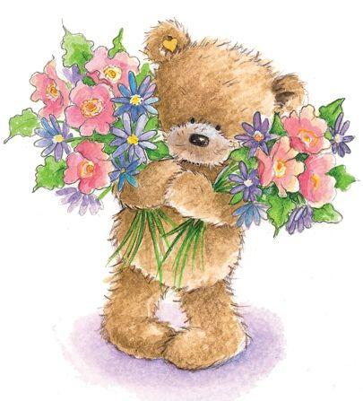 Картинки мишка со цветами