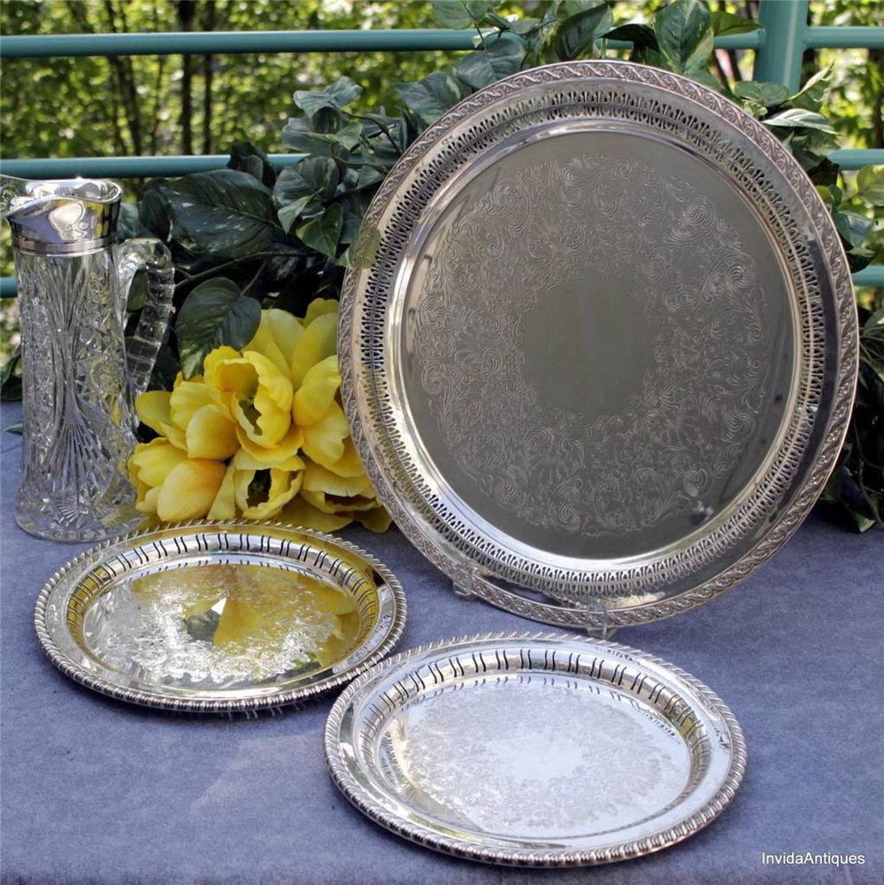 3 Reticulated Wm Rogers Son Silver Plate Serving Trays Spring