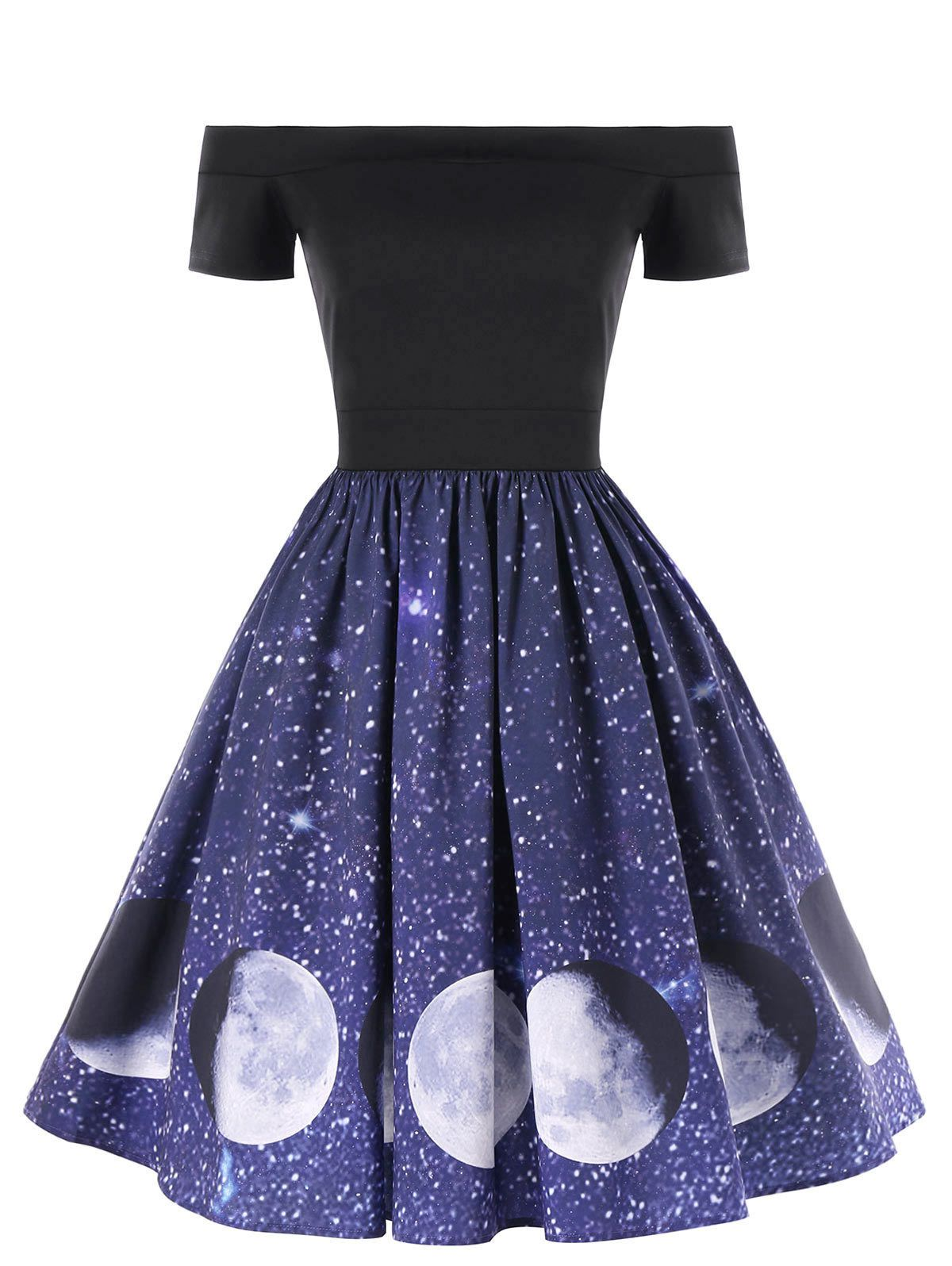 76031bf9275  12.95 - Women Evening Party Dress Off The Shoulder Galaxy Moon Print Swing  A-Line Dress  ebay  Fashion